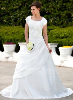 Wedding Dresses - $182.99 - A-Line/Princess Square Neckline Court Train Taffeta Wedding Dress With Ruffle Beadwork (002001626) http://jjshouse.com/A-Line-Princess-Square-Neckline-Court-Train-Taffeta-Wedding-Dress-With-Ruffle-Beadwork-002001626-g1626