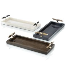 Special Made To Order Design: Luxury Italian Black Lacquered Wood Drinks  Tray * Chromed Brass Polished Horn Handles *  20 x 8  inches