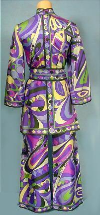 c. 1960's EMILIO PUCCI Fabulous Silk Mini Dress / Tunic, Bellbottom Pants, and Original Tie Sash!