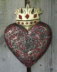 Red & Gold Heart with Crown Milagro Miracle Ex Voto Folk Art Michoacán Mexico