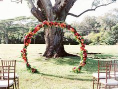 Unique, Circle of Love Ceremony Floral Design by Passion Roots | Photography by Ashley Goodwin Photography | Oahu, Hawaii