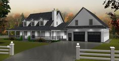 Plan 2013706: 2-Storey House Plan with Bonus Room. Country living at its finest. Open floor plan, vaulted ceiling to second floor, office, fireplace, wrap around veranda, bonus room over large 2 car garage.
