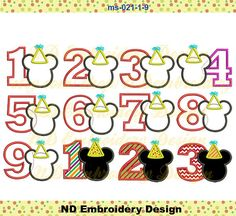 Mickey Mouse  birthday Applique Design Set number by NDembroidery