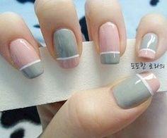 Pastel gray and pink color block nails