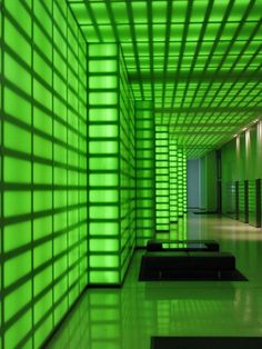 Neon Lobby - 473 Bourke Street, Melbourne (Note to self: when boss of giant company, have your office be like this) Dark Green Aesthetic, Aesthetic Colors, Futuristic Interior, Futuristic Architecture, World Of Color, Color Of Life, Mean Green, Go Green, Green Wallpaper