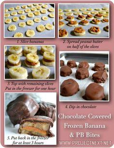 ~Chocolate Covered Frozen Peanut Butter & Banana Treats ... Yummmm!~