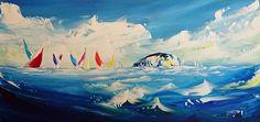 'Bass Rock Regatta' Acrylic on Canvas, 80x40cm