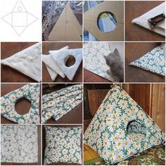 >Here is a nice DIY project to make an easy cat tent from cardboard. The cat tent comes with a matching cushion too. It is wonderful for the great little member in your household. Look at how comfortable and satisfied this cute little kitty Diy Cat Tent, Diy Tent, Diy Teepee, Cat House Diy, Diy Dog Bed, Kitten Care, Cat Furniture, Furniture Design, Pet Beds
