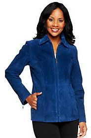 Love this classic style.   Dennis Basso Washable Suede Zip Front Jacket with Pockets