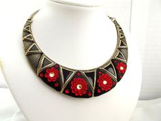 Black Red Statement Bib Necklace Clay Floral Sparkling Swarovski  Antique Brass Crescent OOAK Colourful Jewellery  Unique Gift For Her