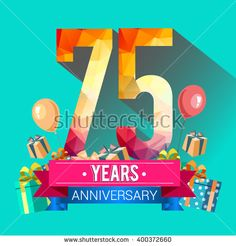 75 Years Anniversary celebration logo,75th Anniversary celebration, with gift box and balloons, colorful polygonal design. - stock vector