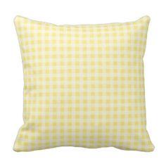 Lemon White Gingham Decorative Pillow