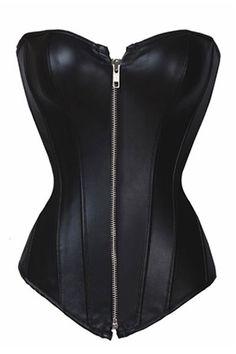 Sexy Women Strapless Black Lace up Faux Leather Overbust Zipper Corset Bustier Top Women Shaper Sexy Lingerie LB1166A S-6XL $12.99