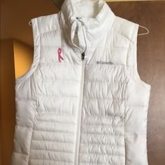 Breast Cancer Columbia puffy vest White, been worn once, maybe twice! Has breast cancer awareness logo. Columbia Jackets & Coats Vests