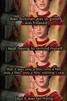 "Young Daniel talking about Alan Rickman's portrayal of Snape. ""Alan Rickman's brilliant portrayal of Severus Snape frightened a young Daniel Radcliffe! Harry Potter Universe, Harry Potter Puns, Harry Potter Love, Harry Potter Characters, Harry Potter World, Harry Potter Interviews, Hogwarts, Jarry Potter, All Meme"