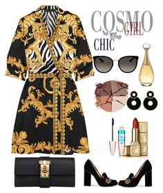 """Versace Black midi dress Hèrmes Black clutch Gucci Black plums & ... that magical J'adore"" by fauziamakave-1 on Polyvore featuring Versace, Hermès, Gucci, lilah b., Guerlain, Maybelline and Christian Dior"