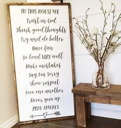 In This House {Can customize these house rules ~ please put in notes at checkout the changes you want made} ~ Made from quality wood   latex paint   wood stain