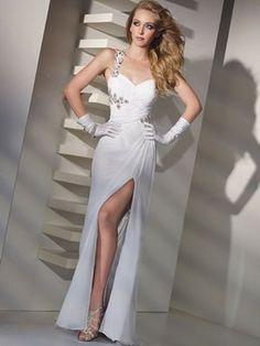 Hübsche Spalte einer Schulter-Rüsche Sleeveless bodenlangen Chiffon Prom Dresses 288,43 €   155,99 €