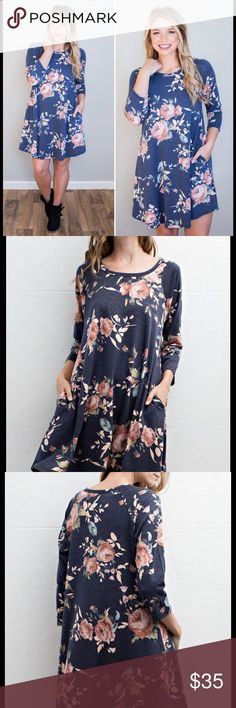 Arriving next week ~Winter Rose Tunic Dress Simply gorgeous ... Perfect Cold Weather Tunic dress with pockets. Can even pair with leggings & booties;)! Poly/Spandex blend . Size: S M L.Please comment on size you'd like & I will tag you once it's in. Price $35..Brand new no tags. ❌NO PP/NO TRADES❌ Cloud 9 Dresses