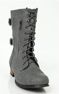 Deb Shops lace up #combat #boot with faux zipper and buckle $39.90