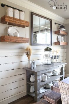 Hey there! I just finished the last project in my dining room (for a while at least ) and I am so excited to show it to you!! (pssss…. We also have an awesome tool giveaway towards the end)! Pipe + rope + wood = OH MY!!! I created these floating shelves that appear to {...Read More...}