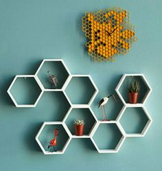 Our Modular Honeycomb Hexagon Shelf can be arranged in different configurations to create your own look while solving your storage problems.