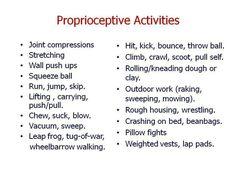 Proprioception Activities