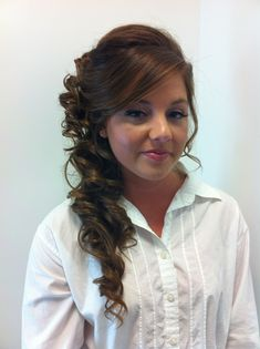 Bridesmaid hair - Side formal do, I like that it goes up the back of the head more
