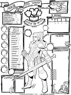 Draw your dungeons and dragons character on a custom character sheet by Bubblelazer Dungeons And Dragons Rules, Dungeons And Dragons Characters, Dungeons And Dragons Homebrew, Dnd Characters, Character Design Animation, Fantasy Character Design, Character Design Inspiration, Rpg Character Sheet, Character Reference Sheet