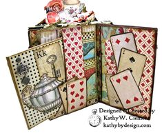 Stamperia Alice Tea Party Treasure Box - Kathy by Design Join me for a cuppa and a project tour of a very fun Stamperia Alice Tea Party Treasure Box with a trio of Eileen Hull Notebooks tucked inside. Altered Books, Altered Art, Alice In Wonderland Crafts, Paper Art, Paper Crafts, Alice Tea Party, Mini Album Tutorial, Up Book, Celebration Quotes