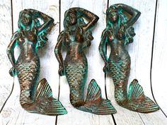 Cast Iron Mermaid Decor - Set of 3 - Mermaid Wall Hook - Wall Necklace Holder - Verdigris/ Patina - Mermaid Jewelry Hook - Nautical Key Hook