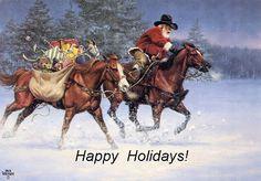 Happy Holidays! Santa on horseback