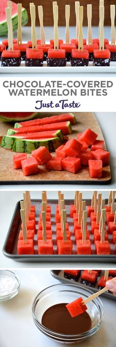 Chocolate-Covered Watermelon Bites #recipe from justataste.com #summer @justataste