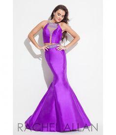 Rachel Allan 7254 Purple Sleek Detailed Two Piece Gown 2016 Prom Dresses