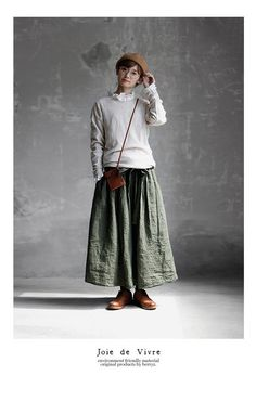 BerryStyle: Joie de Vivre Italy linen vintage processing dyeing frill long skirt - Purchase now to accumulate reedemable points! Modest Outfits, Casual Outfits, Fashion Outfits, Womens Fashion, Moda Natural, Mori Fashion, Mode Boho, Japan Fashion, Minimalist Fashion