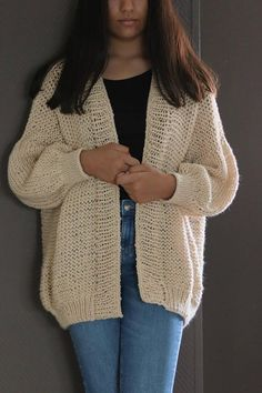 Items similar to Merino Wool Chunky Knit Sweater/ Oversized Ivory Hand Knit Cardigan/ Merino Wool Soft Sweater Cardigan/ Loose Knit Sweater/ Cardigans on Etsy Knitting Kits, Sweater Knitting Patterns, Crochet Patterns, Boho Outfits, Cute Outfits, Fashion Outfits, Womens Fashion, Chunky Knit Cardigan, Mohair Sweater