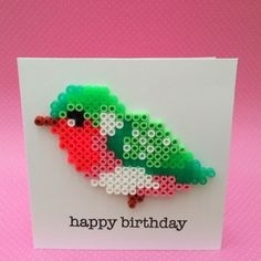 Bird hama bead birthday card by Marije van Wouw  - scraphamster