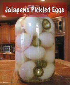 Jalapeno Style Easy Pickled Egg Recipe./..http://homestead-and-survival.com/jalapeno-style-easy-pickled-egg-recipe/