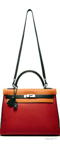 Vintage Hermes ~ 32cm Limited Edition Rouge Garance, Orange H & Havane Togo Kelly