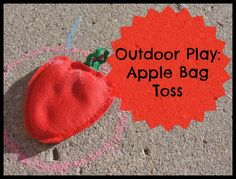 Outside Play - Apple Bag Toss - Kitchen Counter Chronicles Preschool Apple Activities, Autumn Activities, Toddler Activities, Outdoor Activities, Social Activities, Preschool Ideas, Word Games For Kids, Sight Word Games, Market Day Ideas