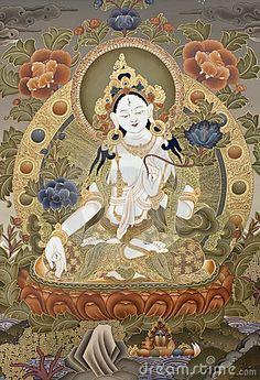 Inner part of ancient tibetan tangka White Tara Goddes
