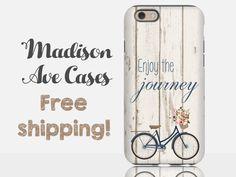 Enjoy The Journey Vintage Bike Quote Wood Navy Blue Bicycle Wedding Custom Samsung Galaxy S6 S7 Edge iPhone 4 SE 5 6 Plus Tough Phone Case