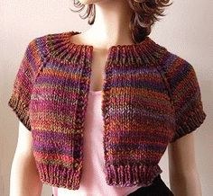 Kaya easy Cropped Shrug knit wool Crystal Palace Yarns