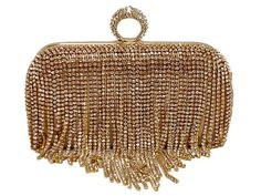 A-SHU GOLD RING DIAMANTE HARDBACK CLUTCH BAG WITH LONG CHAIN STRAP - A-SHU.CO.UK, £22.99