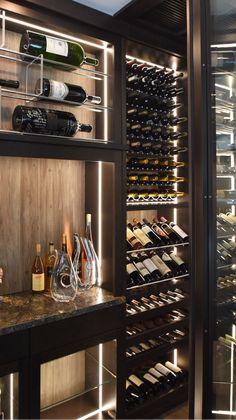Glass Wine Cellar, Home Wine Cellars, Wine Cellar Design, Wine Bar Design, Modern Kitchen Design, Interior Design Kitchen, Modern Home Bar Designs, Dream Home Design, House Design