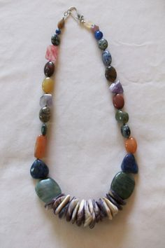 wampum necklace with gem stones by IslandNaturals on Etsy, $240.00