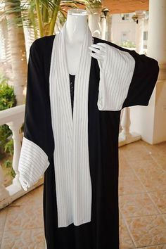From are New Collection: Spring/Summer 2015 Try this Classy and Chic Pinstripe Abaya, Made with Superior quality Japanese Silk infused Crepe, and Pinstripe Cottten Rayon. Summer 2015, Spring Summer, Jeddah, Abaya Fashion, Abayas, Superior Quality, Muslim, Egypt, Mac