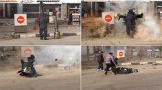 Policial do esquadrão antibomba morre ao ser atingido por explosão de uma bomba que ele tentava desarmar em frente a um posto de gasolina em uma movimentada avenida do Cairo, que leva até as famosas pirâmides. Foto: Al-Youm/Al-Saabi Newspaper/AFP