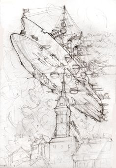 The Russian battleship Borodino, in cruise at a very low altitude over the old town of Tarnów in Austro-Hungarian Galicia. Taste of Battle Steampunk Ship, Gothic Culture, Mechanical Design, Environment Concept Art, Tecno, Fantasy Landscape, Elements Of Art, Retro Futurism, Sci Fi Fantasy