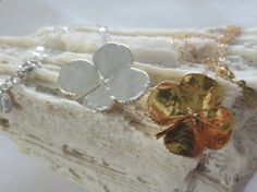 Gold and silver four leaf clover neacklaces by PanachebyAmanda, $46.20